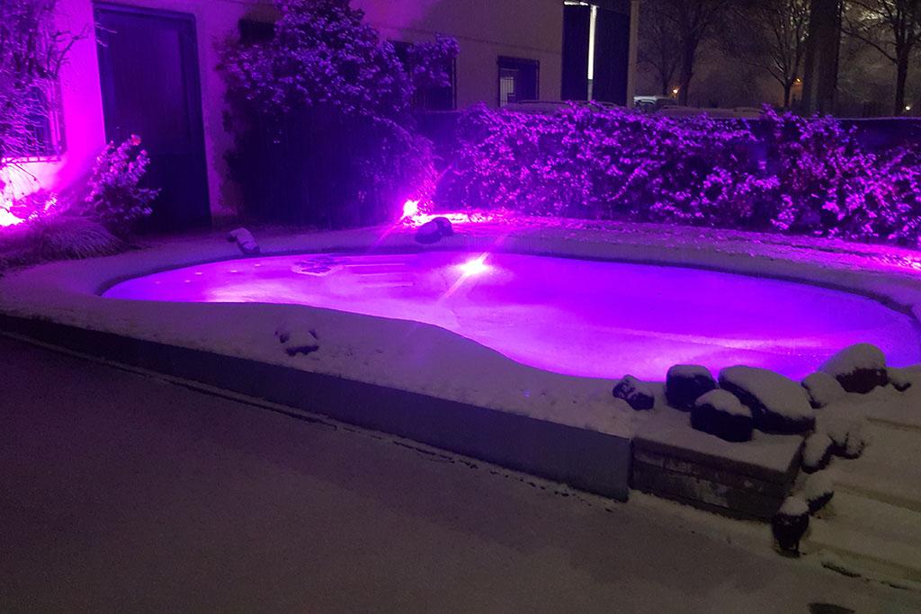 Le piscine ornamentali sotto la neve
